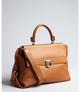 Salvatore Ferragamo hazelnut grained leather convertible doctor's bag