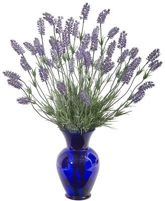 "Overstock 21"" Lavender Artificial Plant in Blue Vase"