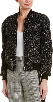 Alice + Olivia Lonnie Reversible Wool-Blend Bomber Jacket