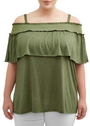 Terra & Sky Women's Plus Size Smocked Off Shoulder Blouse with Ruffles