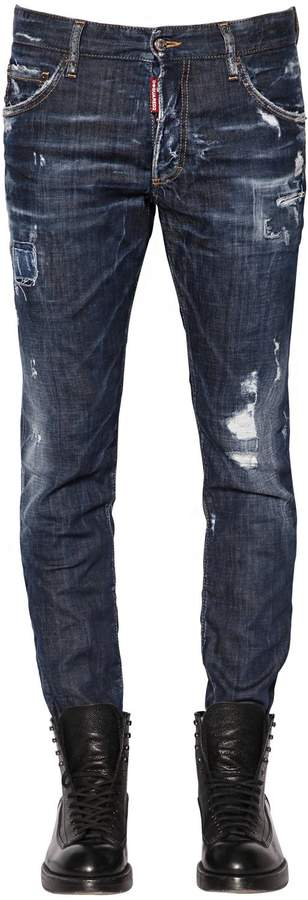 DSQUARED2 16cm Ski Destroyed Stretch Denim Jeans
