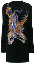 Balmain crystal-embellished panther knitted dress