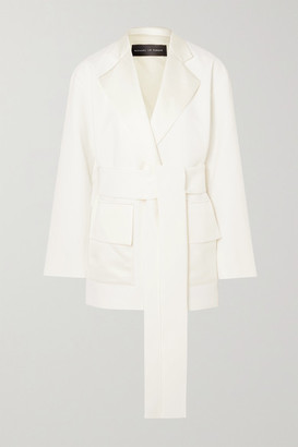 Michael Lo Sordo Boy Belted Silk-satin Trimmed Crepe Blazer - White