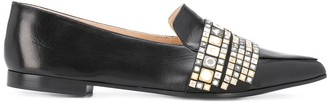 Casadei Embellished Pointed-Toe Loafers