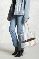 Forever 21 FOREVER 21+ Iridescent Clear Tote Bag