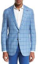 Isaia Domenico Gingham Two-Button Sport Coat, Light Blue/White
