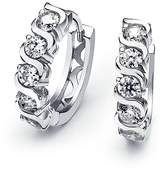 Bling Jewelry Sterling Silver CZ Waved Figure Huggie Earrings
