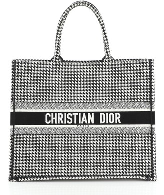 Christian Dior Book Tote Houndstooth Canvas