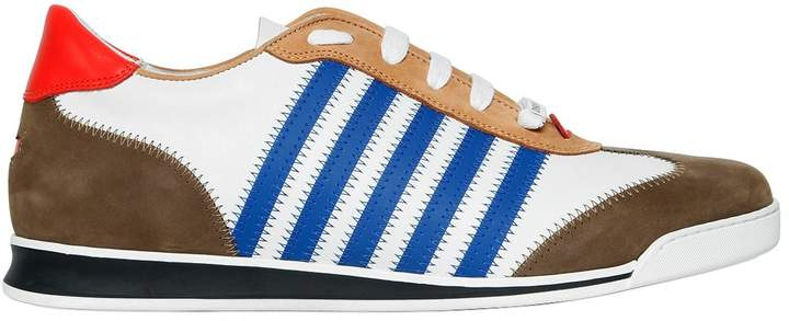 DSQUARED2 Striped Nylon & Suede Leather Sneakers