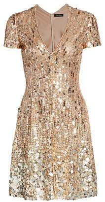 Jenny Packham Short-Sleeve Sequin V-Neck Mini Dress