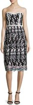 Parker Strapless Floral Embroidered Dress, Gray