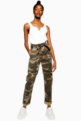 Topshop Womens Camouflage Paperbag Trousers - Khaki