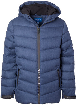 Perry Ellis Boys' Puffer Coats NAVY - Navy Quilted Parka - Boys