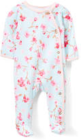 Baby Starters Light Blue & Pink Cherry Blossom Footie - Infant