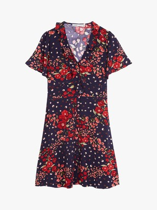 Oasis Floral Ruffle Mini Tea Dress, Multi/Blue