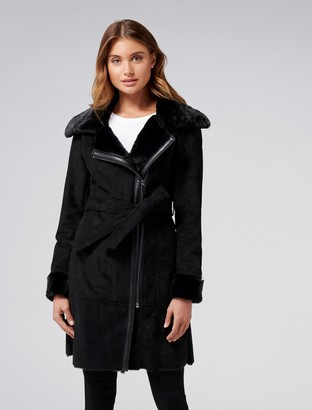 Forever New Rylee Shearling Coat - Black - 6