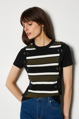 Karen Millen Lace Up Detail Stripe Knit Jumper