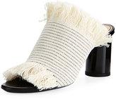 Proenza Schouler Woven Fringe 70mm Slide Sandal, Ecru
