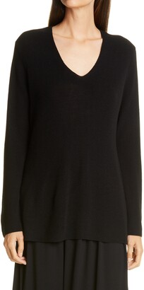 Eileen Fisher V-Neck Silk Tunic Top