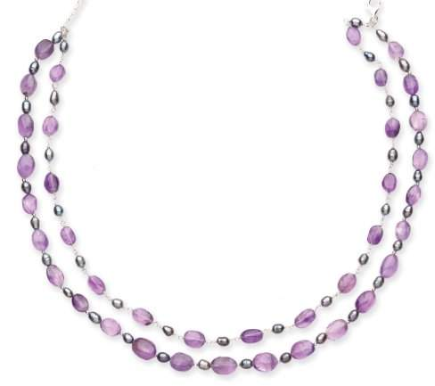 Goldmajor Sterling Silver, Amethyst and Freshwater Pearls Necklace of 42cm with 6cm Extender