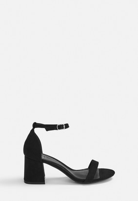 Missguided Black Block Barely There Mid Heels