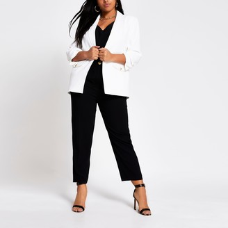 River Island Womens Plus White long ruched sleeve blazer