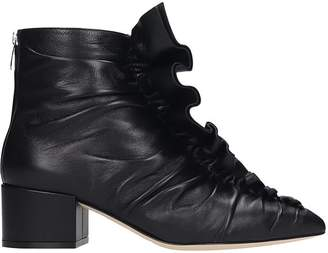 Sergio Rossi High Heels Ankle Boots In Black Leather