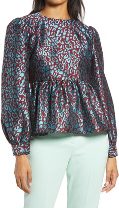 Halogen x Atlantic-Pacific Leopard Jacquard Top