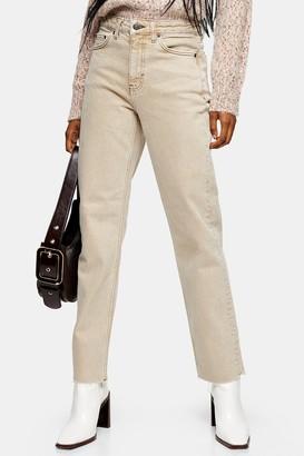 Topshop Womens Sand Raw Hem Straight Jeans - Sand