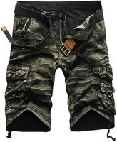 Tanming Men's Multi Pockets Knee Length Solid/Camo Cargo Shorts Bermuda Shorts