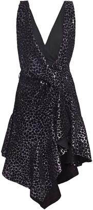 Philosophy di Lorenzo Serafini Asymmetric Draped Flocked Sequined Woven Mini Dress