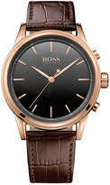 BOSS Men's Smart Classic Brown Leather Strap Smart Watch 44mm 1513451