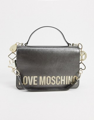 Love Moschino peace love and stars shoulder bag in gunmetal