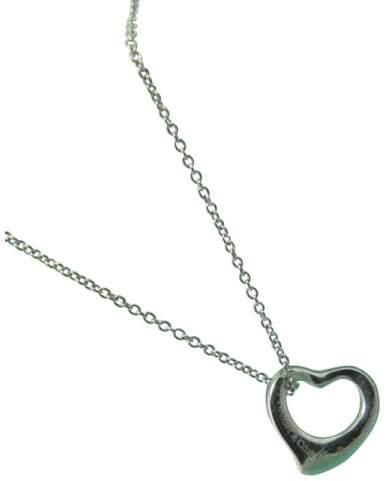 Tiffany & Co. Platinum Elsa Peretti Mini Open Heart Pendant Necklace