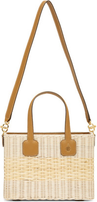 Mark Cross Beige and Brown Rattan Manray Tote