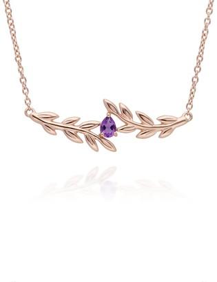 Gemondo O Leaf Amethyst Necklace In Rose Gold