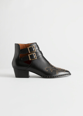 And other stories Embellished Leather Western Ankle Boots