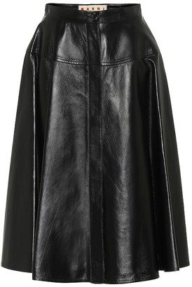 Marni High-rise leather midi skirt