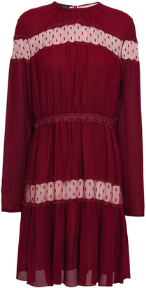 Giambattista Valli Point D'esprit-paneled Gathered Crepe Mini Dress