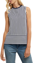 Jaeger Cotton Pique Stripe Jersey Top, White/Navy