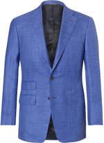 Thom Sweeney - Blue Slim-fit Mélange Slub Wool, Silk And Linen-blend Suit Jacket