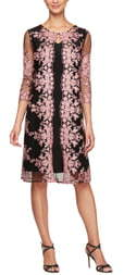 Alex Evenings Embroidered Chiffon Overlay Cocktail Dress