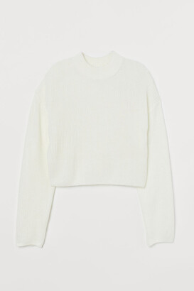 H&M Knit Mock-turtleneck Sweater - White