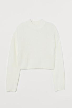 H&M Knit Mock-turtleneck Sweater - White