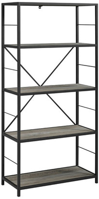 "Walker Edison 60"" Rustic Metal and Wood Media Bookshelf, Gray Wash"