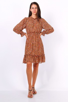 Lilura London Camel Ditsy Floral Long Sleeve Frill Hem Dress