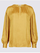 Per Una Gathered Bubble Sleeve Notch Neck Blouse