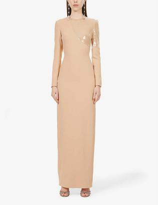 David Koma Sequin-embellished stretch-crepe gown