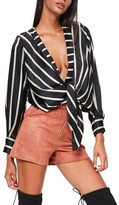 Missguided Women's Tie Front Satin Blouse