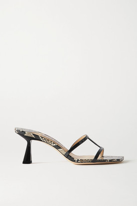 Jimmy Choo Ria 65 Snake-effect And Patent-leather Mules - Snake print